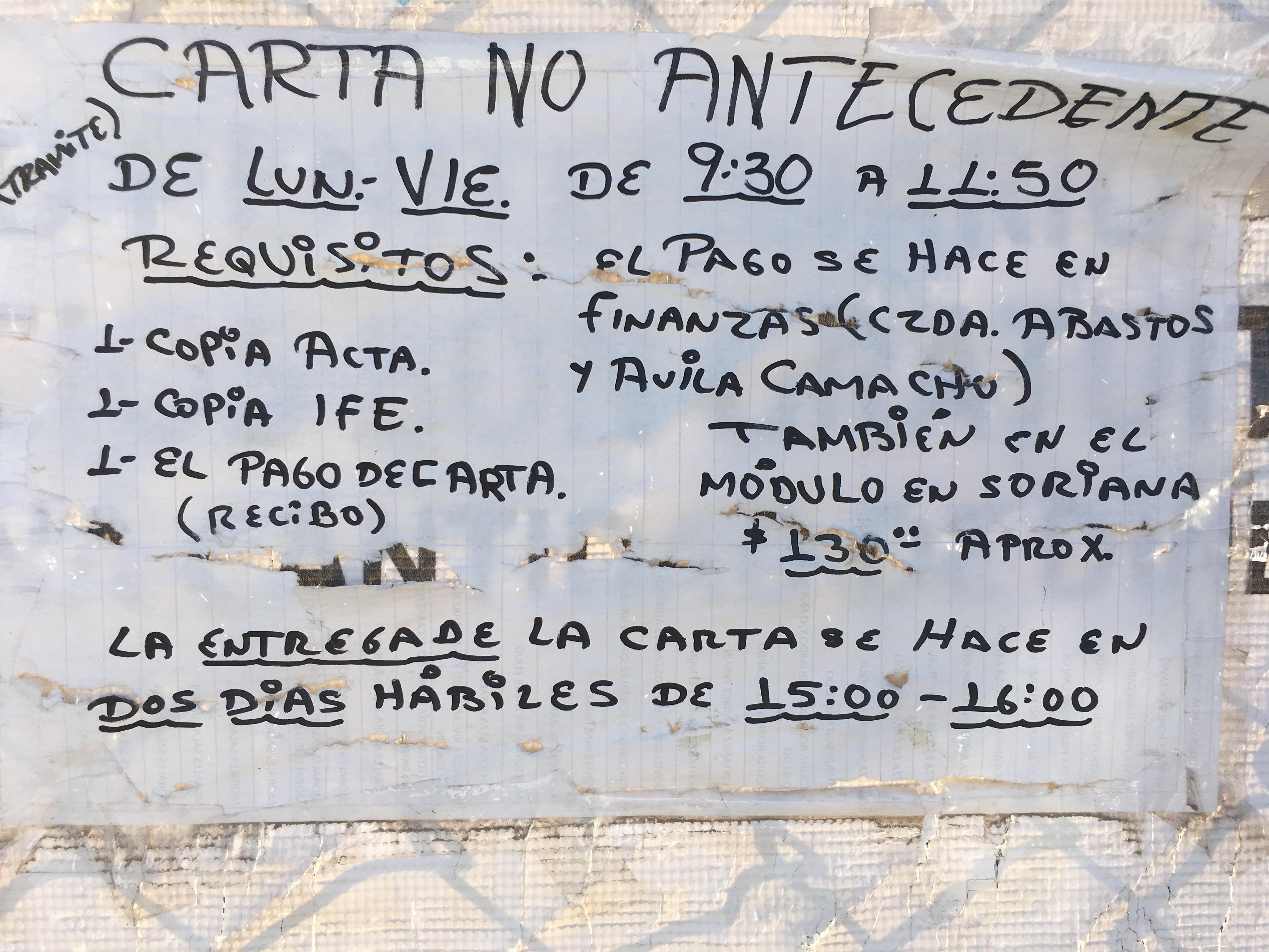 Carta de No Antecedentes Penales Torreón