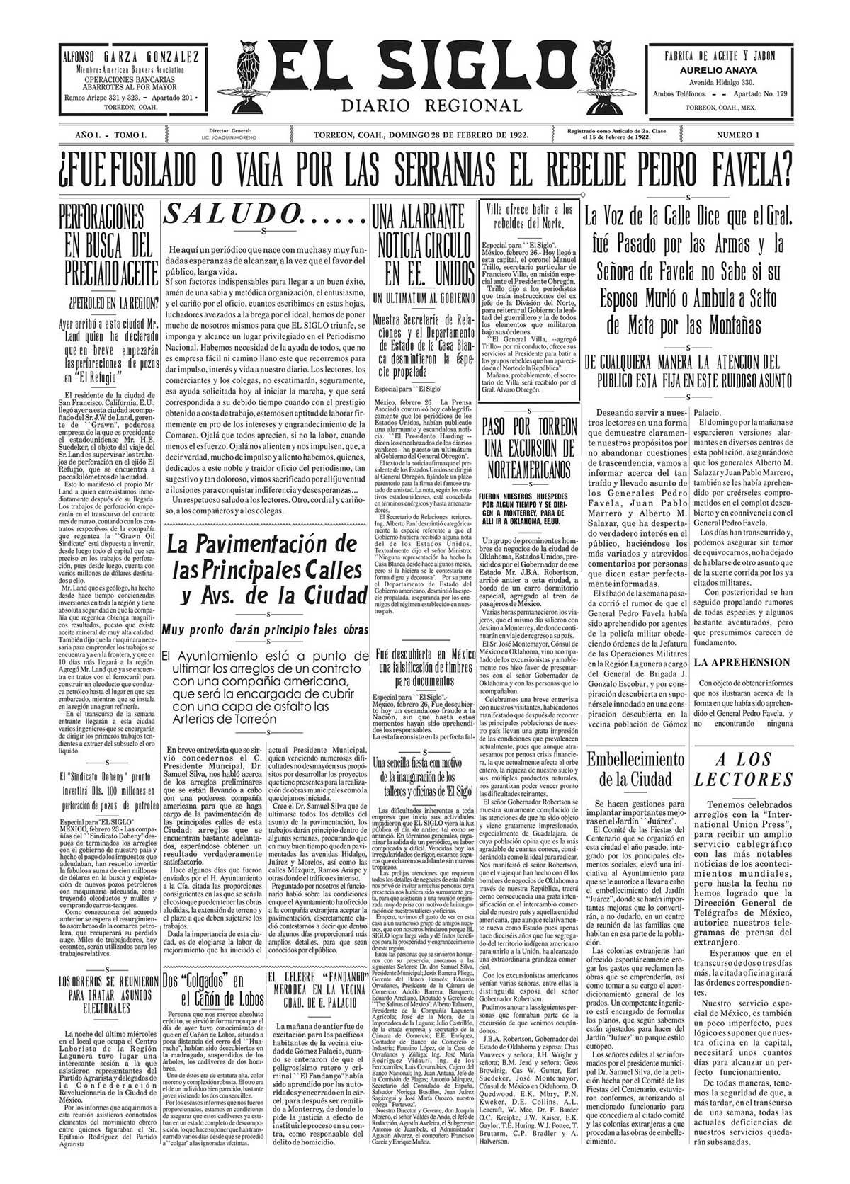 Primer ejemplar de El Siglo de Torreón