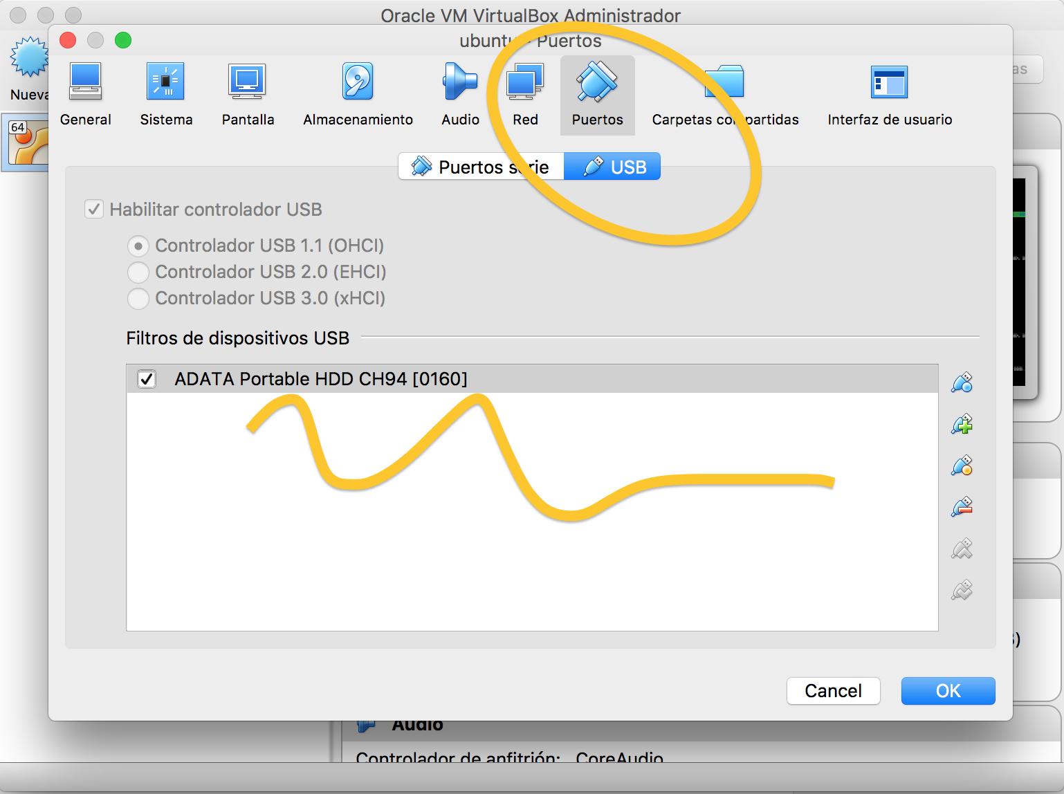 Añadimos el disco duro externo en VirtualBox
