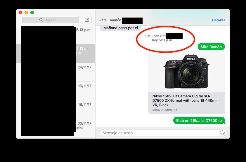 sms desde la Mac / iPhone