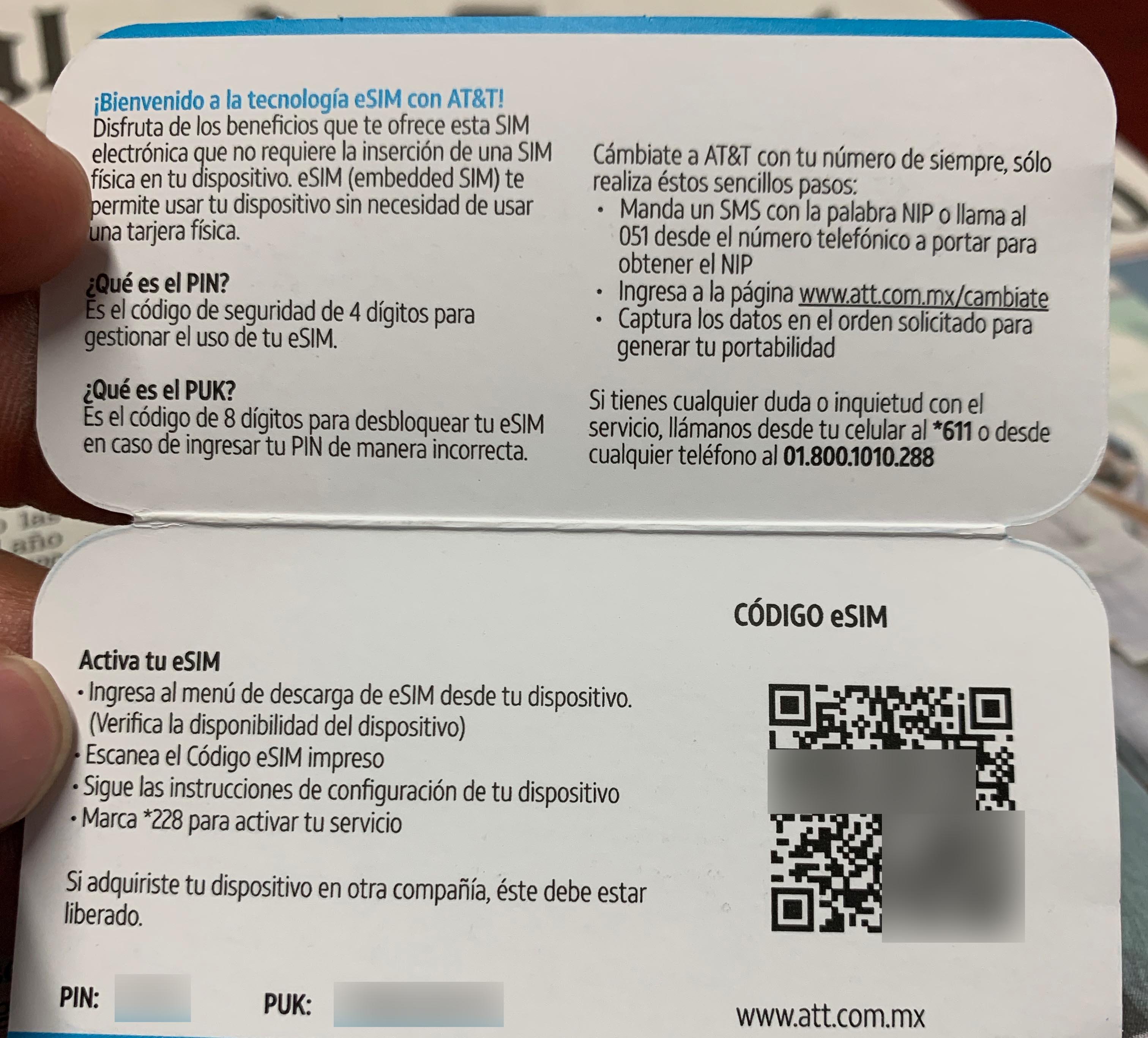 QR eSIM de AT&T México